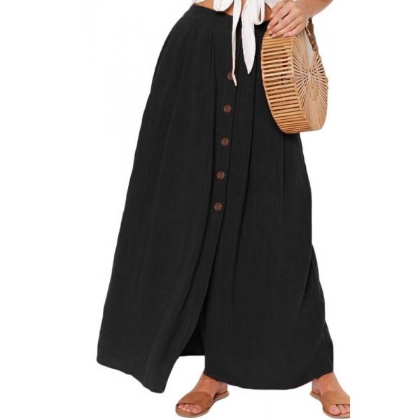 Dámska čierna sukňa s gombíkmi