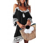 Štýlové plážové šaty - čierne