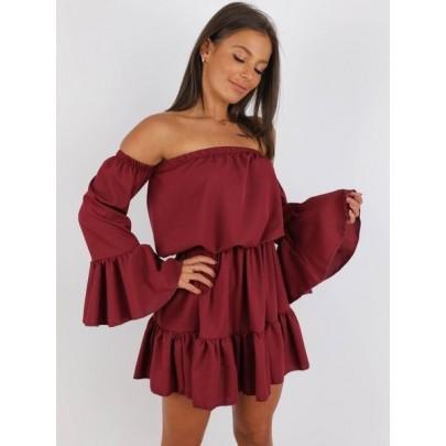 Dámske letné šaty bordové BELLA