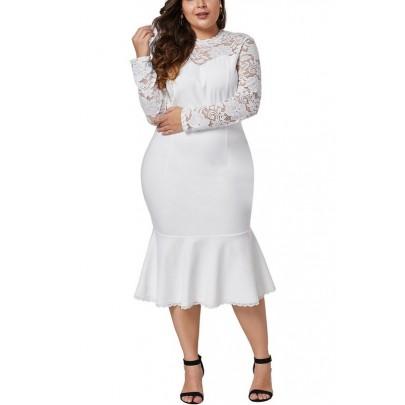Biele dámske plus size šaty
