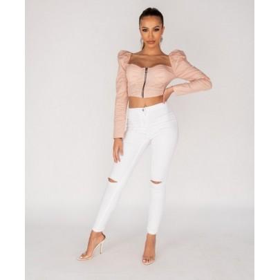 Dámske štýlové biele nohavice