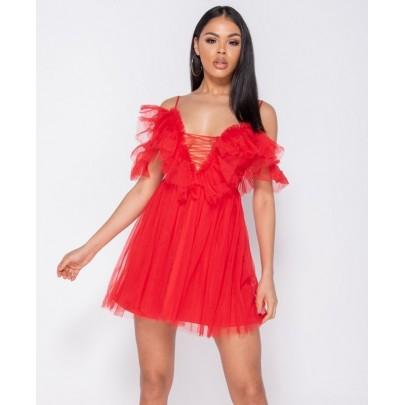 Dámske červené šaty ROSETTA