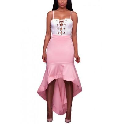 Dámska asymetrická ružová sukňa