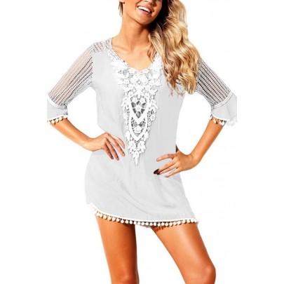 Plážové šaty s čipkou - biele