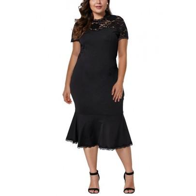 Dámske čierne plus size midi šaty Rosmunda