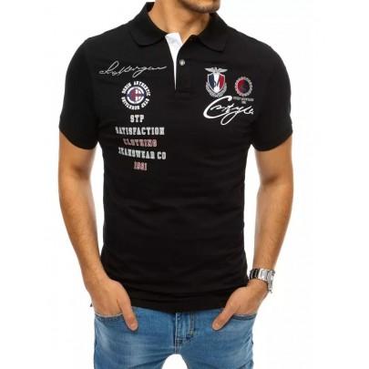 Štýlové čierne pánske polo tričko PX0400
