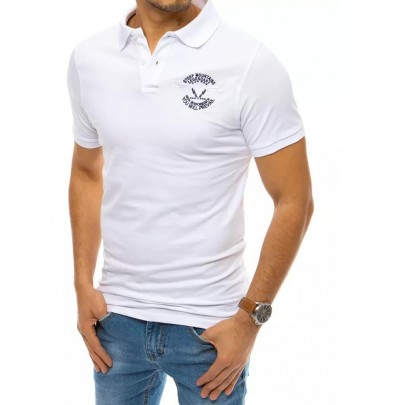 Trendové biele pánske polo tričko PX0471