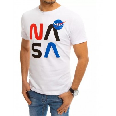 Biele pánske tričko s potlačou NASA RX4552