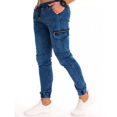 Modré trendové pánske riflové joggery UX2994