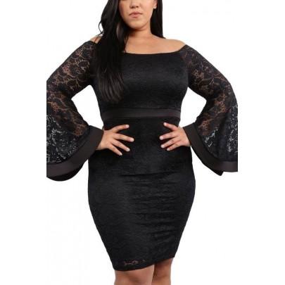 Dámske plus size šaty - čierne