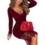 Dámske čipkované šaty - burgundy