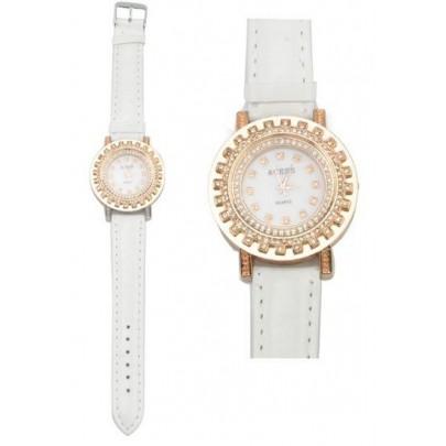 Dámske trblietavé hodinky Gold White