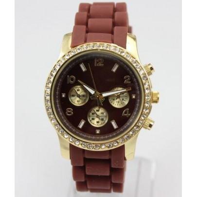 Dámske trblietavé hodinky - hnedé