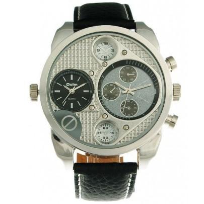 Pánske hodinky Oulm Dual Silver Black