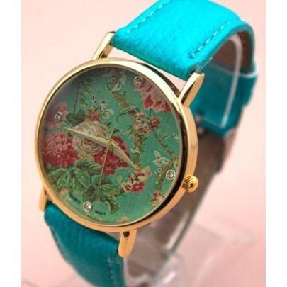 Dámske kvetované hodinky - modré