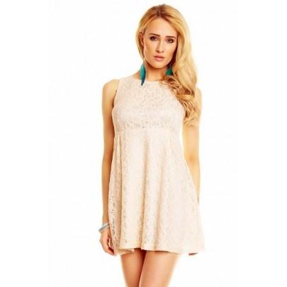 Béžové čipkované šaty Oaklee