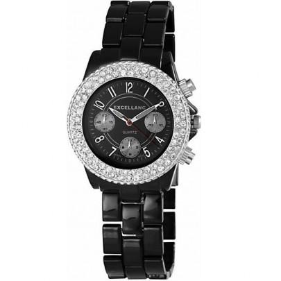 Dámske kovové hodinky Excellanc - čierne