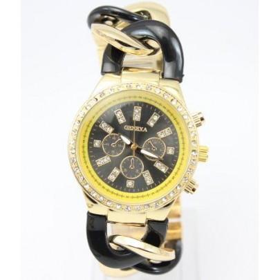 Dámske hodinky Geneva - náramok reťaz Gold Black