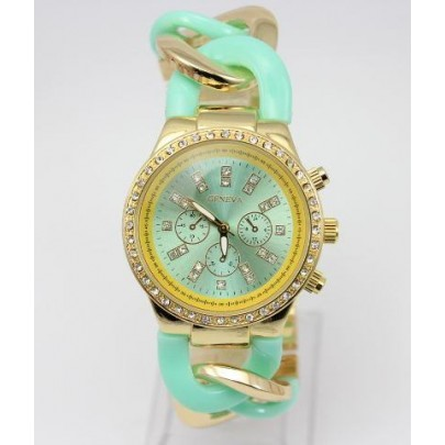 Dámske hodinky Geneva - náramok reťaz Gold Blue