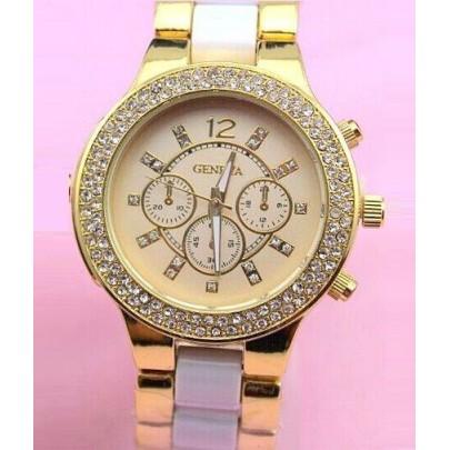 Vykladané dámske hodinky Geneva Stripe - Zlaté White