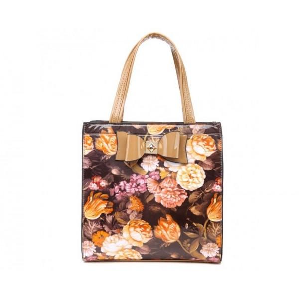 Exkluzívna lakovaná kabelka flower - béžová