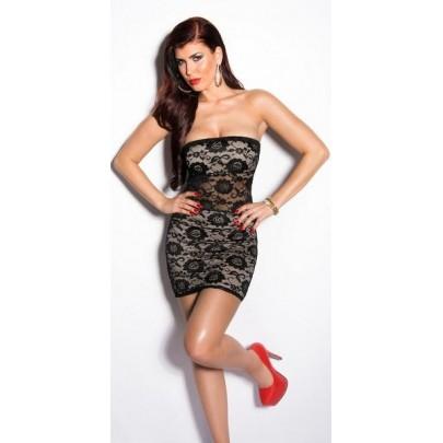 Béžové šaty s čiernou čipkou Giavanna
