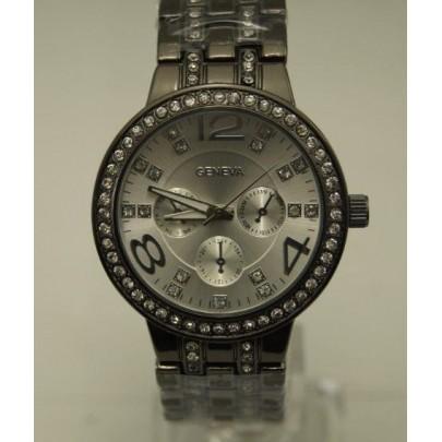 Dámske hodinky Diamond s vykladaným náramkom - čierne
