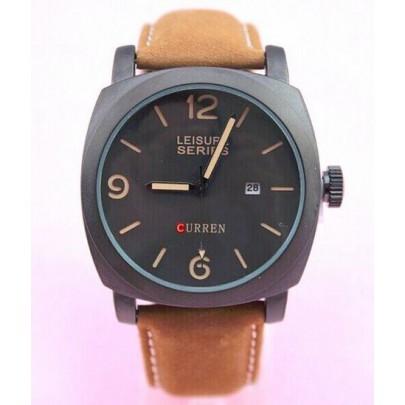 Pánske vodotesné hodinky Curren čierne hnedý remienok