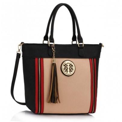 Trendy kabelka - čierna/béžová