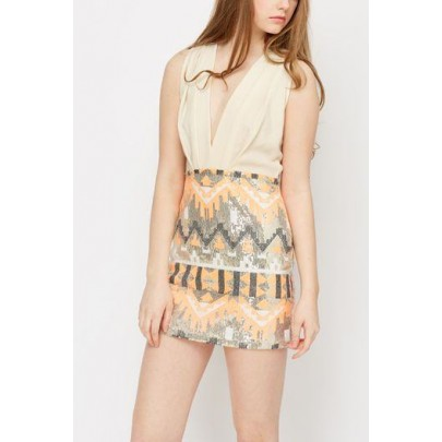 Dámske šaty AZTEC s flitrami béžové