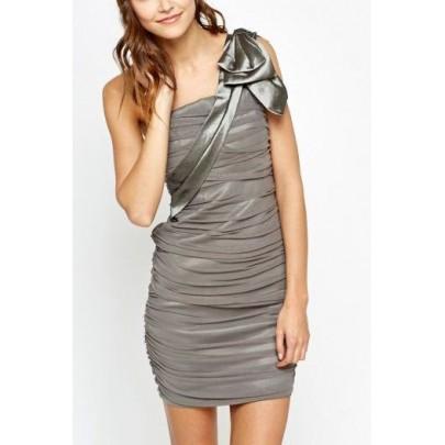 Dámske sivé  šaty s mašľou Adrienne