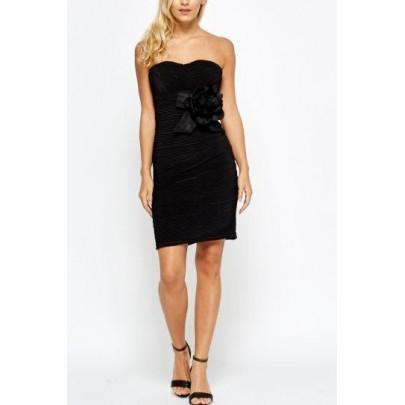 Čierne dámske šaty s kvetom Alora