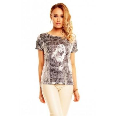 Dámske tričko s potlačou - sivé