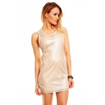 Dámske trblietavé béžové šaty Christine