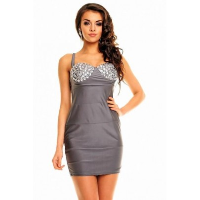 Dámske šaty s kamienkami Kaylin - sivé