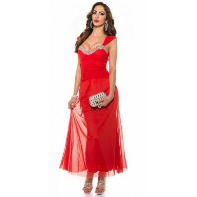Dlhé trendy červené šaty s kamienkami Novah