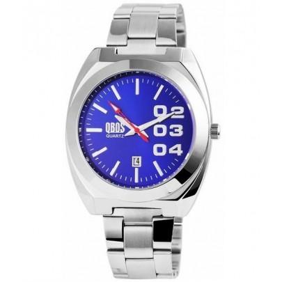 Pánske kovové hodinky QBOS strieborné Blue