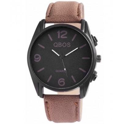 Pánske hodinky QBOS hnedé Basic Black