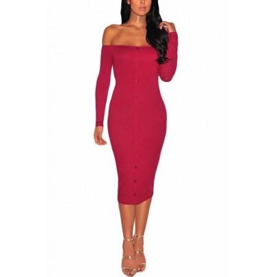 Bodycon šaty s gombíkmi Rena - červené