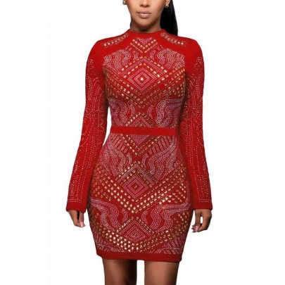 Vykladané dámske šaty Nicole - červené