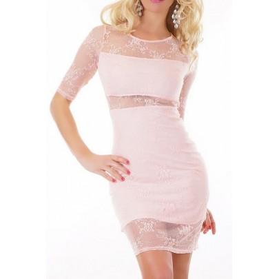 Dámske čipkované šaty Miss ružové
