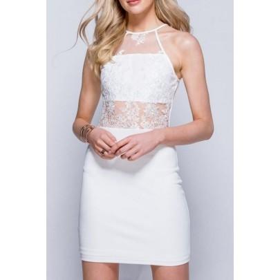 Dámske čipkované šaty Olivia biele