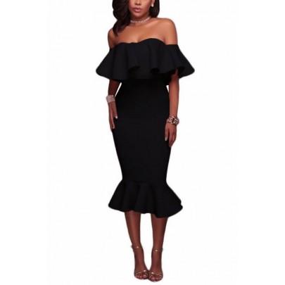 Dámske šaty s volánom Angelica - čierne