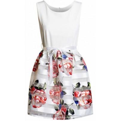 Dámske kvietkované šaty Daniella biele
