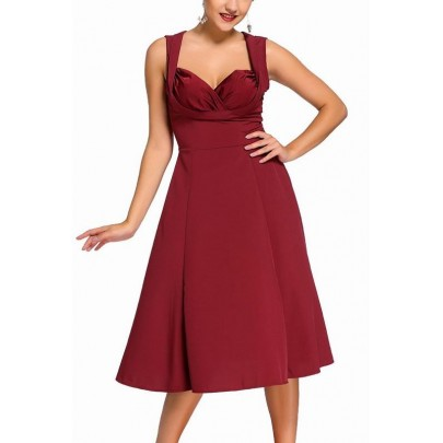 Dámske retro šaty Talyse - burgundy