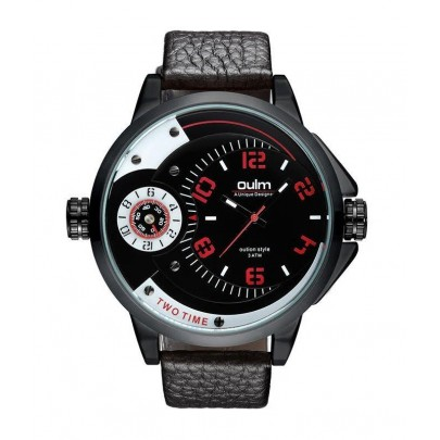 Pánske hodinky Oulm Dual Luxury - čierne červené