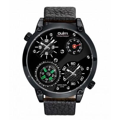 Pánske hodinky Oulm Dual Navigator New - čierne