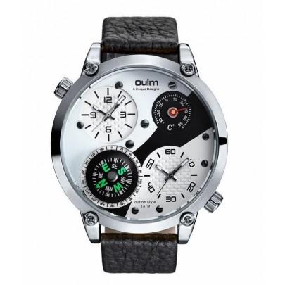 Pánske hodinky Oulm Dual Navigator New - strieborné