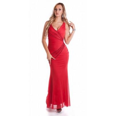 Dlhé červené spoločenské šaty Anastasia