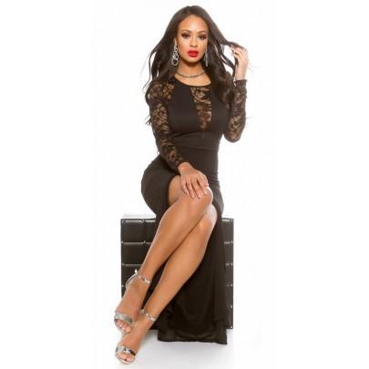 Dlhé spoločenské šaty s čipkou Heidi - čierne